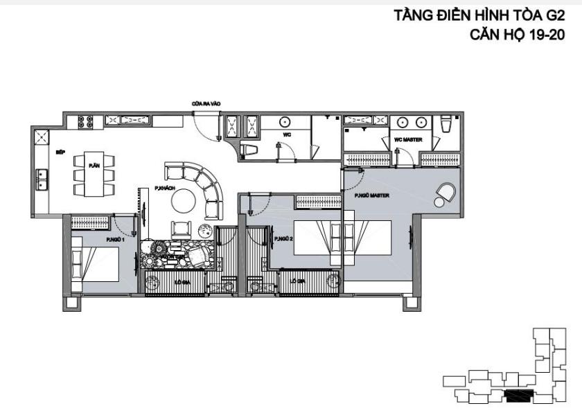 Phương án ghép căn 19-20 tòa G2 Vinhomes Green Bay